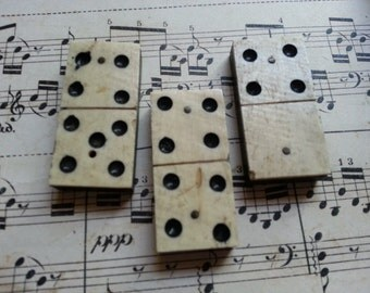 THREE Antique Bone Domino Pieces. Shabby Antique Art Material.