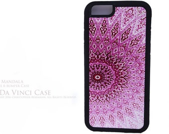 Pink Mandala iPhone 6 6s Case - Rubber Sided One Piece Snap On iPhone 6 6s Case - Featuring Buddhist Artwork Rose Mandala