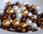 6-10mm WHITE BRONZE GOLD Glass Pearl Coated Mix Round Beads (100) RD47