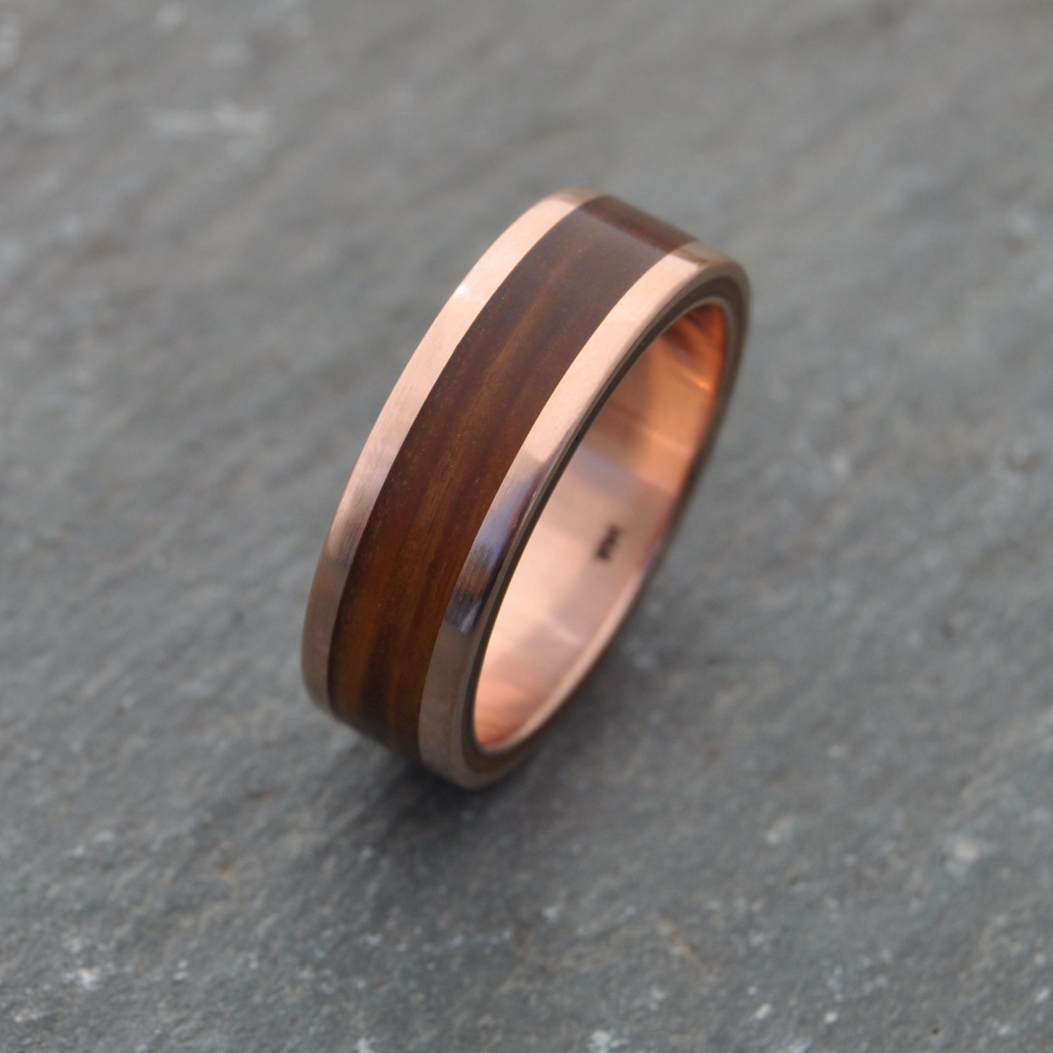 Rose Gold Wood Ring Lados Guayacan Ecofriendly Wood Wedding Band