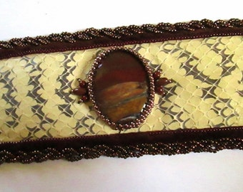 Snake Skin  Cuff Bracelet with Tiger Iron Cabochon