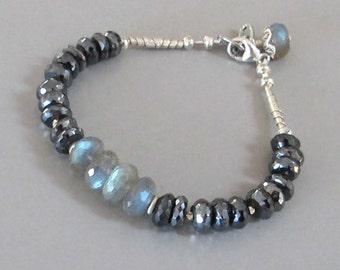 Mystic Spinel Labradorite Bracelet Sterling Silver Bead DJStrang Color Flashing Gemstone Boho Cottage Chic