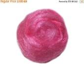 Valentine Sale Bubble Gum Pink Firestar, Needle Felting, Spinning Fiber, bright pink, flamingo pink .5 oz, similar to Icicle Top