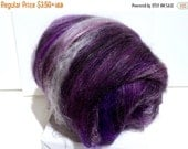 "Valentine Sale fiber art batt, wool, roving, spinning, felting ""Vanitas"", PHAT Fiber, February 2012, black, pink, purple, silver"