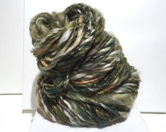 "Thick and Thin Bulky yarn, Handspun, ""Winter Festivities ll"" olive green gold topaz yellow green white tan, freeform knit crochet weaving"