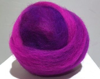 "Purple Fuschia wool roving, Felting wool, Spinning Fiber, w free  samples,""Black Light"" Fuchsia Purple Violet Amethyst wool"