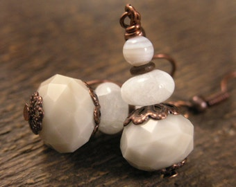 SALE Ivory agate, amazonite stone, glass and antique copper handmade earrings