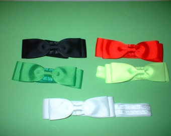 3 1/2  inch  Hair Bows on Headbands In  colors( 85)  total of 5