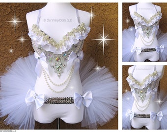 Silver White Diamond and Pearls Princess Rave Outfit - Rave Bra and Half TuTu Bustle EDM Outfit