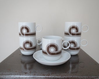 Set of 5 Ambrogio Pozzi Rosenthal Studio Linie Baltic Demitasse Cups Saucers