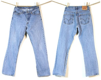 "Levi's 501 Jeans / Vintage Distressed High Waist Button Fly Medium Wash Denim / Worn In Thrashed Frayed Holes Faded / Unisex 30"" x 31.5"""