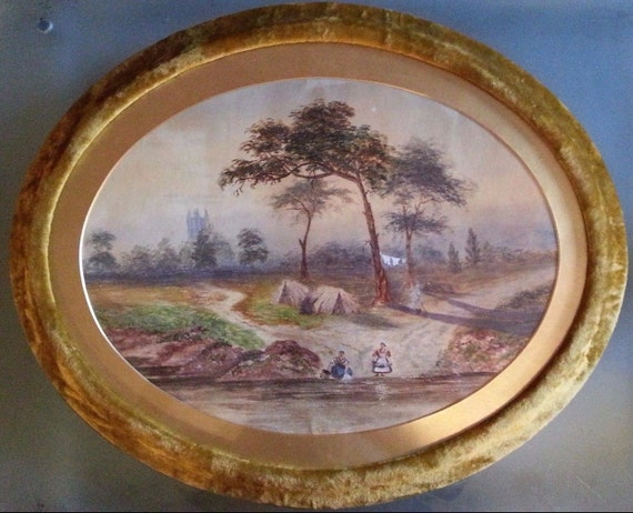 """Dos inusuales 1860 antiguos acuarelas en marcos ovalados de terciopelo increíbles, 17 """"x 21"""", impresionante y única"""