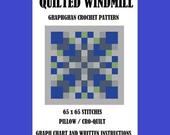 Quilted Windmill Pillow / CroQuilt - Graphghan Crochet Pattern