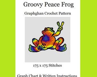 Groovy Peace Frog - Graphghan Crochet Pattern