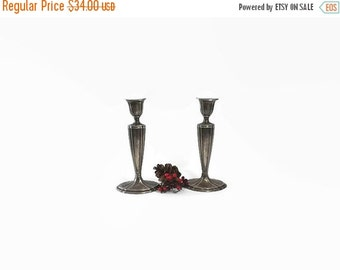 Vintage Jennings Brothers Silver Plate Candlesticks, JB Silverplate Candle Holders, Shabby Cottage Home Decor