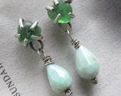 Silver Stud Earrings Beach Glass GREEN Aqua Opal Post Button Rough Sea Glass Dangling Earrings