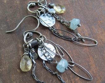 Boho Dangling Earrings Silver Charm Earrings wire wrapped Gemstone Earrings Aquamarine Dangle Earrings Funky Silver Jewelry