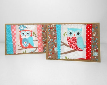 Owl Greeting Card, Blank Greeting Card, Quilted Card Blank Inside, Set of Two Owl Blank Greeting Cards