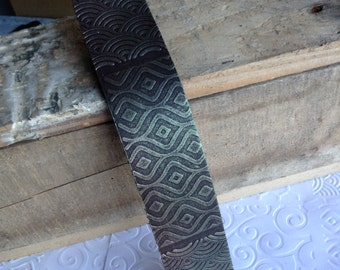 Hand Textured, Hand Painted, Recycled Leather Bracelet Blank, Created from Leather Remnants, One of a Kind, 8 x 1.5 Inches