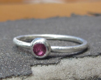 pink Ruby solitaire ring, sterling silver engagement ring, ruby jewelry, precious stacking ring, minimalist ruby ring