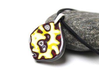 Detroit Fordite Necklace Swirled Recycled Vintage Auto Paint Jewelry Lemon Yellow Silver Red Round Medallion Sterling USA Retro Glitter Tear