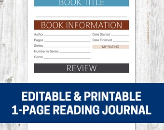 EDITABLE & PRINTABLE Reading Journal