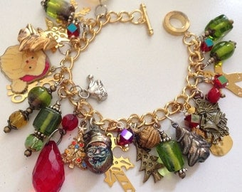 Price Reduced for Holidays! Charm bracelet Christmas vintage and new  charms buttons novelty holiday jewelry red crystals rhinestones