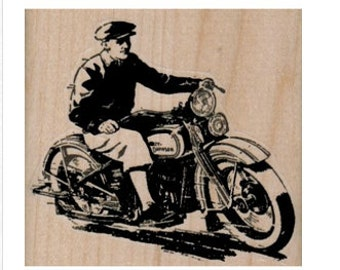 rubber stamp Motorcycle Rider number 14896 stamps stamping
