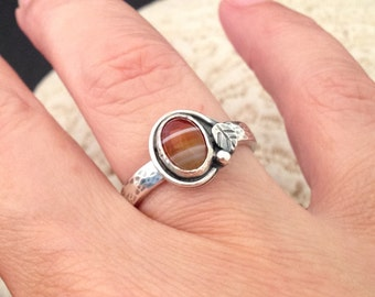 Red Carnelian Stone Ring, Original Handcrafted Setting Leaf Design, Striped Stone Solitaire Stacking Ring, Artisan Handmade Sterling Silver