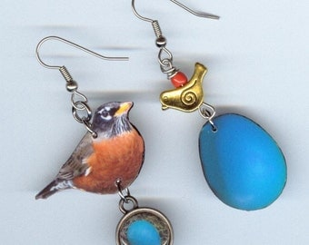 Robin bird earrings - sping time nest egg eggs - asymmetrical earring jewelry Designs by Annette - mismatched - bird lover nature gift
