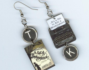 Book cover Earrings - To Kill a Mockingbird quote Typewriter key - Harper Lee - Literary readers gift  - asymmetrical mismatched earring