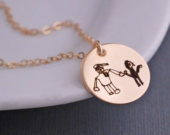 Your Child's Drawing on a Pendant, Gift for Mom, Gold Custom Child's Artwork Necklace, Art Jewelry, Personalized Handwriting Necklace