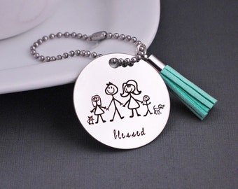 Personalized Purse Charm with Stick Family, Blessed Purse Charm, Gift for Nana, Gift for Grandmother
