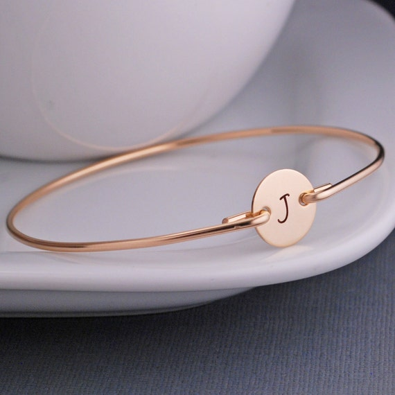 Initial Bracelet, Custom Gold Initial Bangle Bracelet, Personalized Initial Jewelry Gift