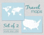 Gallery Wall Print Set, World Travel Map and US Travel Map, First Year Wedding Anniversary Gift for Husband, Gift for Him 16x20 Wall Art