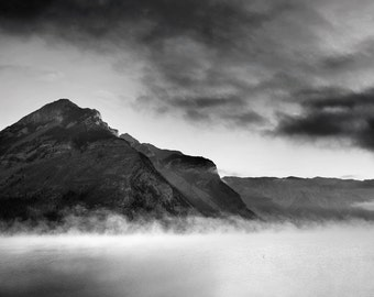 Fine Art Black and White Photography, Rocky Mountain Lake, Black and White Landscape, Wall Art, Mountain Photograph - Out of the Fog