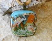 Beach Jewelry,  Heron Pendant,  Fused Glass Pendant, Stone Look Glass Pendant, Ocean Scene, Square Glass Pendant, Florida Jewelry