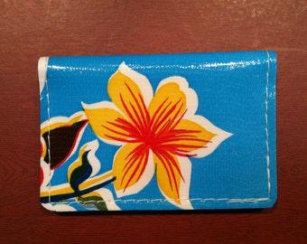 Oil Cloth Wallet, Mini-Wallet, Business Card Wallet, Credit Card Wallet, repurposed