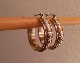 SALE TODAY Vintage Large Gold 1980s Floral Hoop Earrings Pierced Wide