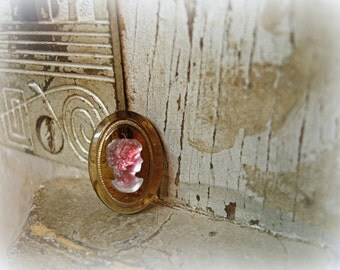 4 RARE vintage west german glass cameo cabs with fLash 18 x 13mm topaz oval cab frosted crystal and pink cameo
