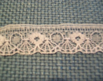 "Vintage Scalloped Edge 3/4"" Flat Lace Trim White 12 Yards"