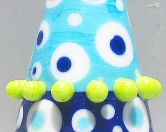 Laguna Two-Toned Big Cone--Handmade Lampwork Glass Bead