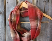 Maroon and Brown Plaid Infinity Scarf