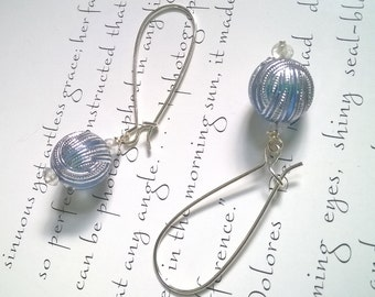 silver earrings with blue vintage beads - quartz and acrylic earrings - blue earrings - art deco earrings - simple dangle earrings