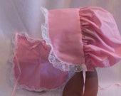 Adult Baby Sissy  Matching Bonnet and Bib  Set  Pink