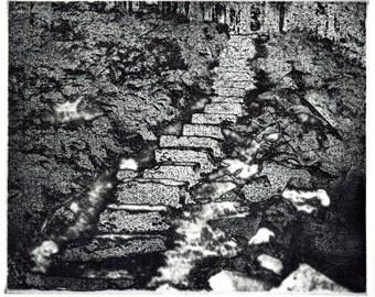 Cook Forest Steps original hand printed zinc plate aquatint etching, pennsylvania