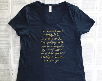 Size LARGE - SALE - Navy blue loose-fitting screen printed Tshirt -Gold ink - Mr. Darcy Proposal quote