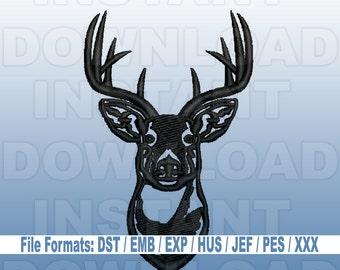 Buck Head Deer Hunting Embroidery Design - Filled Stitch -4X4 Hoop- PES File,JEF File,HUS File,dst File,exp File - Commercial & Personal Use