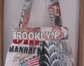 Purse Pleated Handbag  Ipad Netbook Tote New York City Statue of Liberty