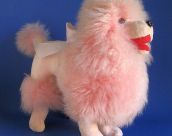 Vintage Unique 1960s Large Pink Poodle Stuffed Animal Toy Soft Shearling Wool with Original Ribbon Rare